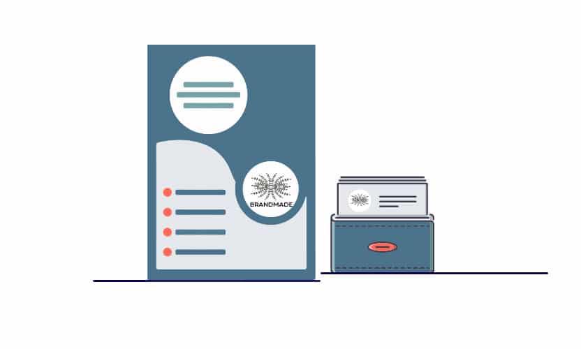 Dessin de supports imprimés papier entête et carte de visite CGM Création