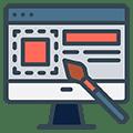 Le webdesign symbolisé par un écran de PC et une création design