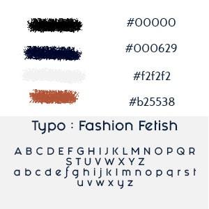 Planche de couleur dans l'identité visuelle du logo décliné avec les codes couleurs et la typographie