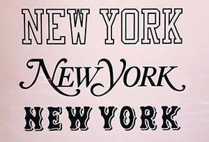 Une déclinaison du mot New York en différente typographie