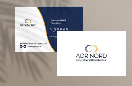 Mise en valeur des cartes de visite réalisées pour ADRINORD