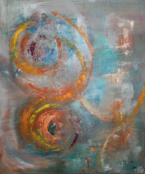 Réalisation de CGM Création : peinture abstraite couleurs zen et pointe orangée
