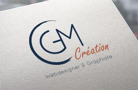 La conception du logo pour CGM Création, ici un mockup du logo en situation