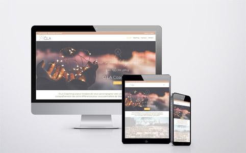 Mockup de la réalisation du site internet d'Ola Coaching et du référencement SEO